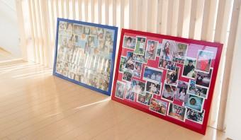 IKEAのフォトフレームに子供たちの写真をスクラップしてディスプレイ。