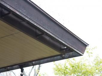 外から雨どいが見えないように工夫された屋根の庇。「建築家の気持ちが手に取るようにわかったので、この家に惹かれました」