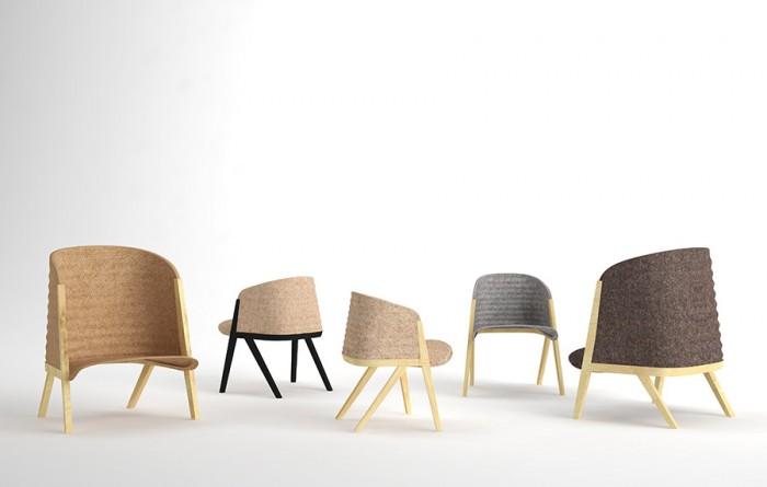 「Mafalda」Patricia Urquiolaデザイン。クラシックな椅子の形状に新解釈と現代的な素材を与えた。素材はブナ材とポリエステル。