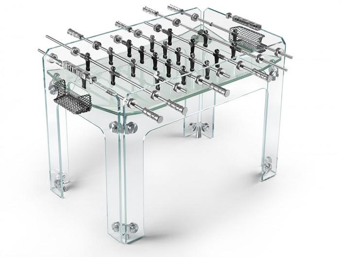 クリスタルガラス仕様のテーブルサッカーゲーム「Cristallino」
