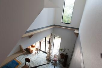 階段の吹き抜けにはキャットウォークを設け、猫たちにも配慮。