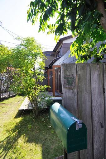 この塀を右に折れると玄関。デッキの手前の木はシマトネリコ。