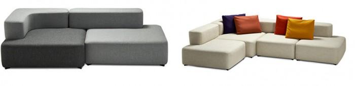 左から アルファベットソファ2シート W2400 D1050〜1200 H700 SH400mm ¥562,800〜 アルファベットソファ4シート W3000 D2100〜1050 H700 SH400mm ¥1,033,200〜(クッション4個付き) ともにALPHABET™/フリッツ・ハンセン日本支社