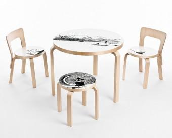 90Bテーブル、82,000円(税抜)© Moomin Characters™ 「Artek」の椅子とテーブルはインテリアショップ Sempreなどで発売中。