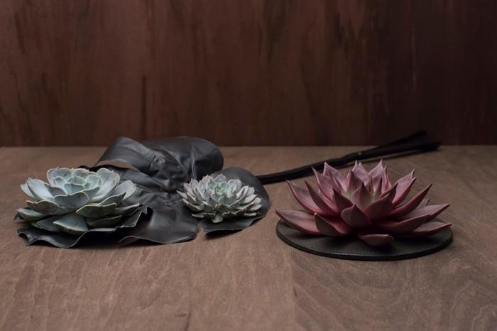 左から多肉植物エケベリア(シルバー・大) ¥2,625 (シルバー・小) ¥1,470 (レッド・大)  ¥2,625 以上Kate Rose 南青山店 黒フェイクスモールモンステラリーフ ¥2,500 AGITO 六本木 陶板7号  ¥8,400 ネオグリーン