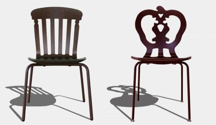 左からSilhouette Chair Albert(ブラウン) W537 D528 H900 SH455mm ¥42,000 Silhouette Chair Victoria(ヴィンテージレッド) W460 D549 H873 SH426mm ¥46,200 ともにWilliam Warren/インテリアショップ マイウェイ