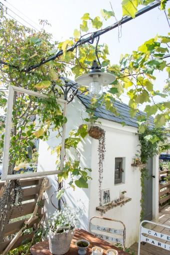 ガーデンシェットにぶどう棚が、ヨーロッパの田舎を思わせる。左側のフレームは、日々変わる絵をイメージして設置。