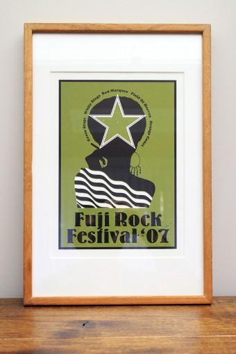 毎年手掛けている、フジロックフェスティバルオフィシャルTシャツの絵柄を、シルクスクリーンで仕上げた作品。