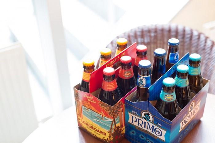ハワイのビールも「PRIMO」や「コナビール」など常時数種類を用意。ビンのかわいさもハワイ気分をもり立てる。好みのビールを見つけて。 ハワイアンビール ¥800