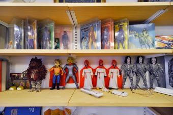『猿の惑星』のフィギュアとともにタイガーマスクやピグモンなども並ぶ。