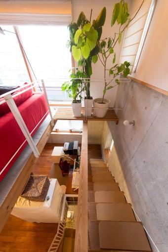1階の土間から3階まで続く階段。構造の美しさが感じられる。