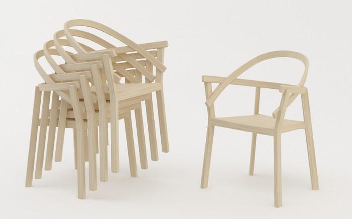 「Embrasse」Atelier Oïデザイン。背中とアームの両方から支えられているという絶対的な安心感と、スタッキング可能という機能性がポイント。