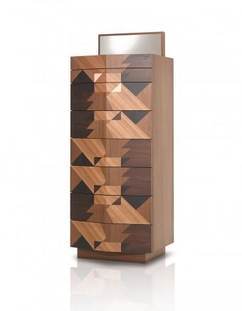チェスト「Maggio」Alessandro Mendiniデザイン。寄木細工の8段チェスト。