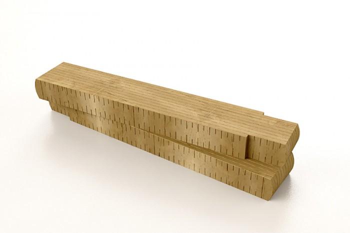「Metro」Maurizio & Davide Rivaデザイン。チェードロ(シトロン)の無垢材のベンチ。大工が使う折りたたみメジャーがモチーフ。