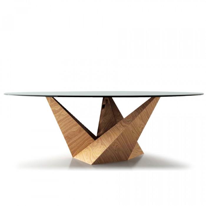 「Peak」Claudio Belliniデザイン。なめらかな曲線のガラストップと幾何学的な形状のチェードロ(シトロン)材のコントラストがポイント。