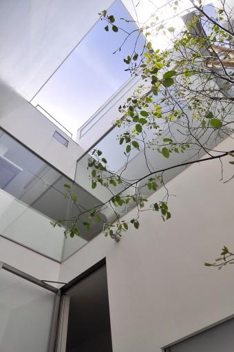 中庭の見上げ。上部が抜けているため、いる場所によって異なる空の形を楽しむことができる。