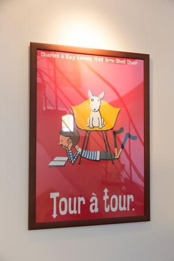 市原淳のポスター。犬と椅子に魅かれて購入。
