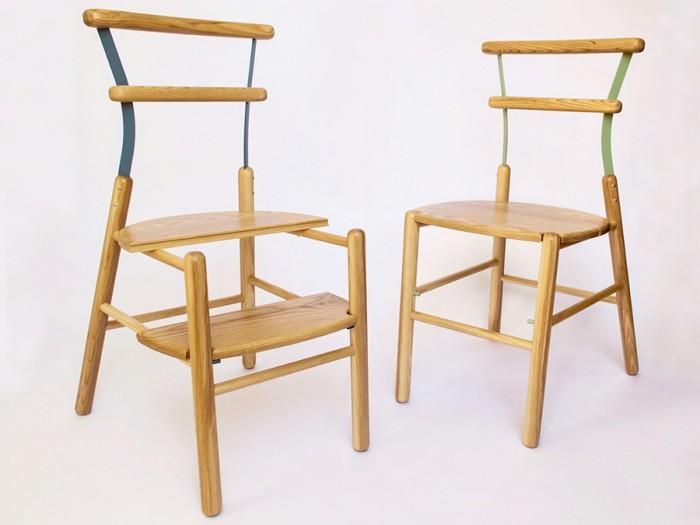 「Suppergiù」座面の半分を下段に置けば、2段脚立になる椅子。
