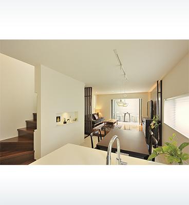 ヘーベルハウスの実例細長い敷地を活かす3階建て空間の変化を楽しむ家