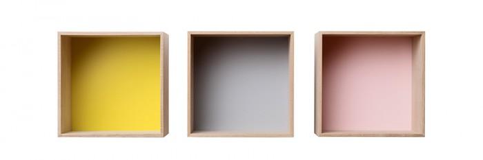 Mini Stacked(アッシュ+イエロー・アッシュ+グレイ・アッシュ+ローズ) W332 H332 D260mm 各¥17,000 muuto/GENERATE DESIGN