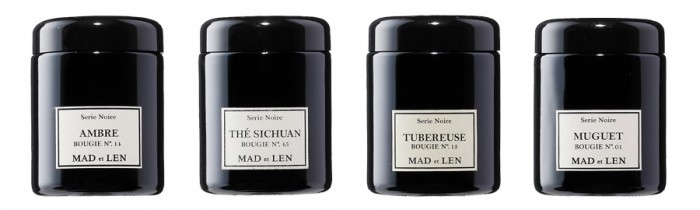 MAD ET LEN GLASS CANDLE(左からAMBRE・THE SICHUAN・TUBEREUSE・MUGET) 250g 各¥7,600 MAD ET LEN/ザ・コンランショップ