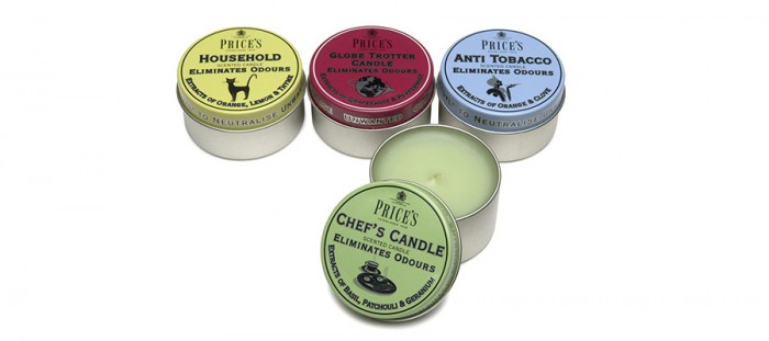 FRESH AIR シリーズ(左からHOUSEHOLD・GLOBE TROTTER CANDLE・ANTI TOBACCO・CHEFS CANDLE) φ70 H35mm 119g 各¥1,300 PRICE'S//LIVING MOTIF