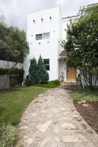 玄関前のアプローチ。苗木から育てたトネリコ、ユーカリなどの木が茂る。