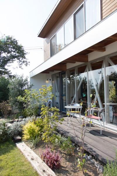1階がカフェ、2階が住居部分。テラスや庭は自ら造成した。自然を感じられるのどかなロケーションが人気。