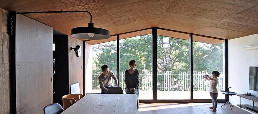 シンプル&クールで素材感のある家  三角に象られた天井のも