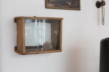 年代物のガラスが使われているケースの中には、エアプランツがコロリと。