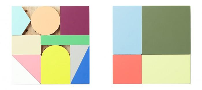 ブロックのセットは2層。丸、三角、四角、形も大きさもさまざまな14個のブロックと36個のダボのセット。