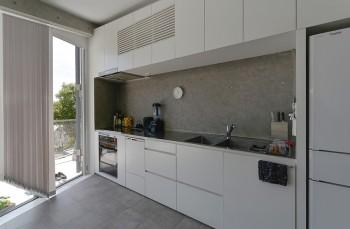 キッチンは、つくった食事をテラスに運ぶのにも都合のいい配置。