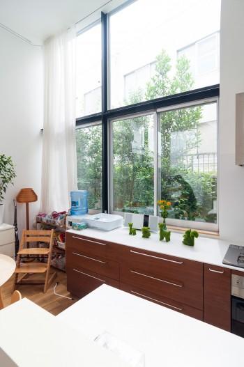 キッチン脇に開けられた大きめの開口からは外に植えられた月桂樹やジューンベリー、ローズマリーなどが見える。