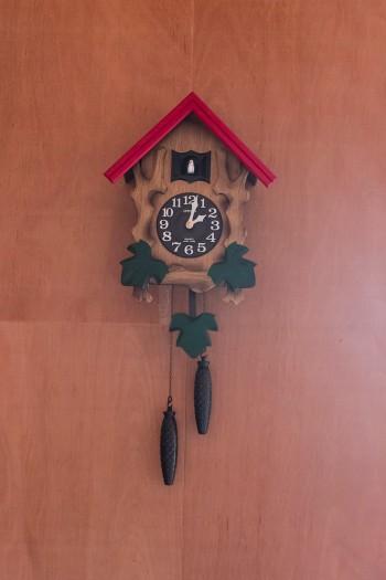 赤い三角屋根の鳩時計が、田中家にピッタリ。「雑誌社の編集長さんに新築祝いのプレゼントとしていただいたものです」