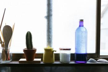 キッチンシンク上のちょっとしたスペースには、調理関連の小物に混じりサボテンや貝殻が。