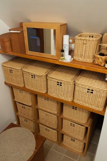 バスルーム、ユーティリティはひとつのスペースに。一角にドレッサーコーナーを設け、着替えをすっきり収納。