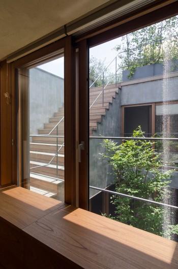 2階からは中庭と屋上の緑が両方楽しめる。