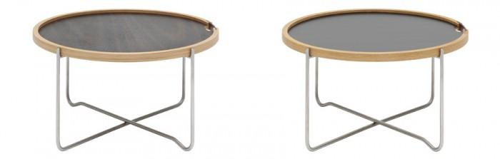 左からCH417トレイテーブル(ナチュラルオーク&スモークドオーク)φ620 H330mm ¥93,000 CH417トレイテーブル(ホワイト&ブラックラミネート)φ620 H330mm ¥88,000 ともにHans J.Wegner/Carl Hansen & Son