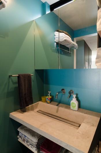 洗面所の壁の色はAさんのスマホのカバーからとられた。洗面台には自由に形と色が決められるモールテックスを使用。