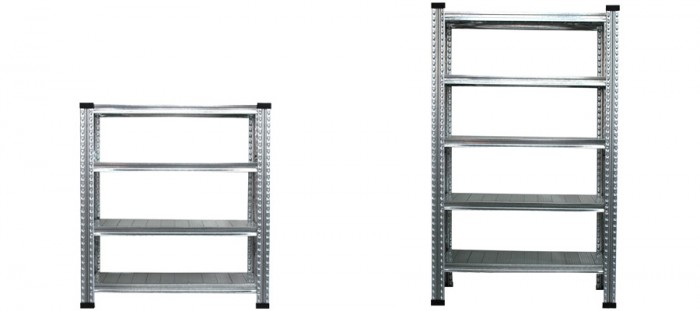 左から4 TIER STEEL SHELF W900 W980 D415 H1056mm ¥28,000 5 TIER STEEL SHELF W900 W980 D415 H1585mm ¥35,000 ともにMETALSISTEM/The Tastemakers & Co.