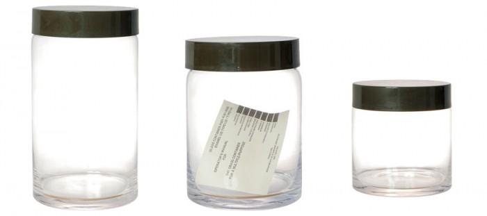 GLASS JAR 左からφ130 H230mm ¥3,600 φ150 H205mm ¥3,600 φ130 H140mm ¥2,800 以上 PUEBCO