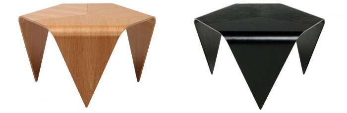 トリエンナ コーヒーテーブル(オーク・ブラックステインバーチ) W700 D620 H390mm各¥95,550アルテック