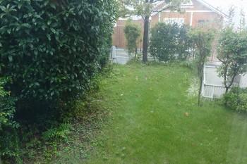 「最近芝刈り機を買いました」(亮さん)。庭にはハナミズキとキンモクセイの木が植わっていて、季節感をたっぷり味わえる。