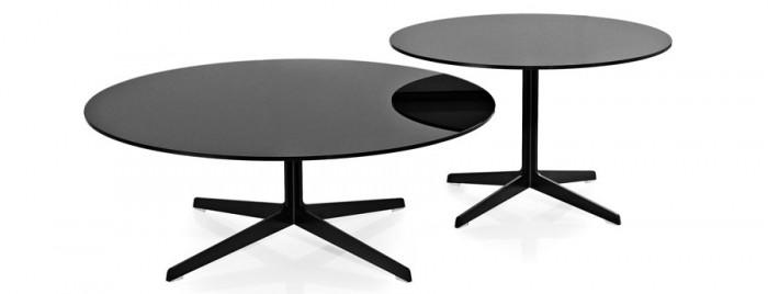 スペーステーブル(ブラック) 左からJL50 φ1000 H370mm ¥307,000 JL60 φ750 H460mm ¥252,000 ともにフリッツ・ハンセン
