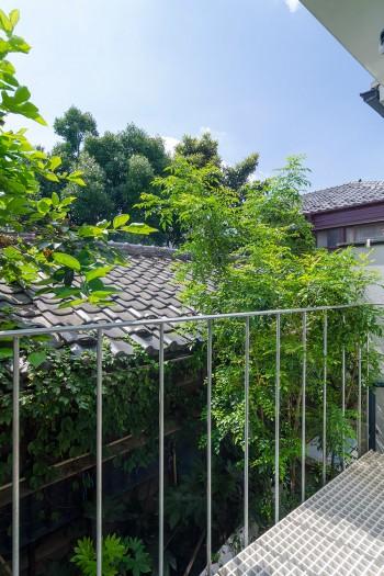 バルコニーから見る。お隣の敷地の瓦屋根の平屋の家は建て替えが不可のため、この眺めが遮られることはない。