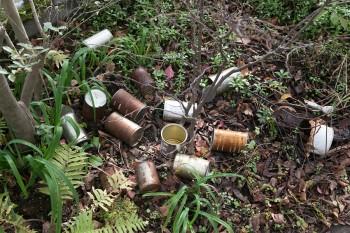 使用済みの缶を庭に放置。観葉植物の鉢にするため、自然に風化させてエイジングを待っている。
