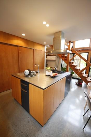 緑を見ながら台所に立ちたいと考えて、大きなアイランドキッチンを作った。