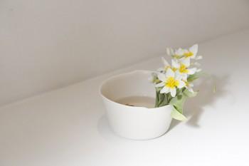 ちょっとした花あしらいを欠かさない。花器はイイホシユミコ。