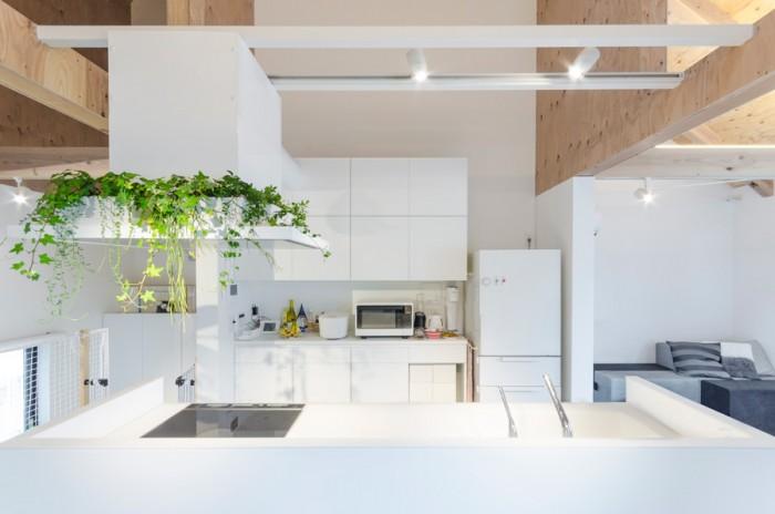 2階の中心の位置にキッチンを据えるのは奥さんの希望であった。キッチンでの作業時でも小さな息子さんをつねに確認できる位置にある。左のグリーンはリビングからの見え方を意識して少しワイルド感の出せるものを置いた。