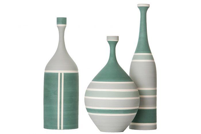 左からフラワーベースφ230 H340¥59.200φ160 H290¥73.500φ90 H380¥59.200以上ceramiche milesi(MOODA SOAME)
